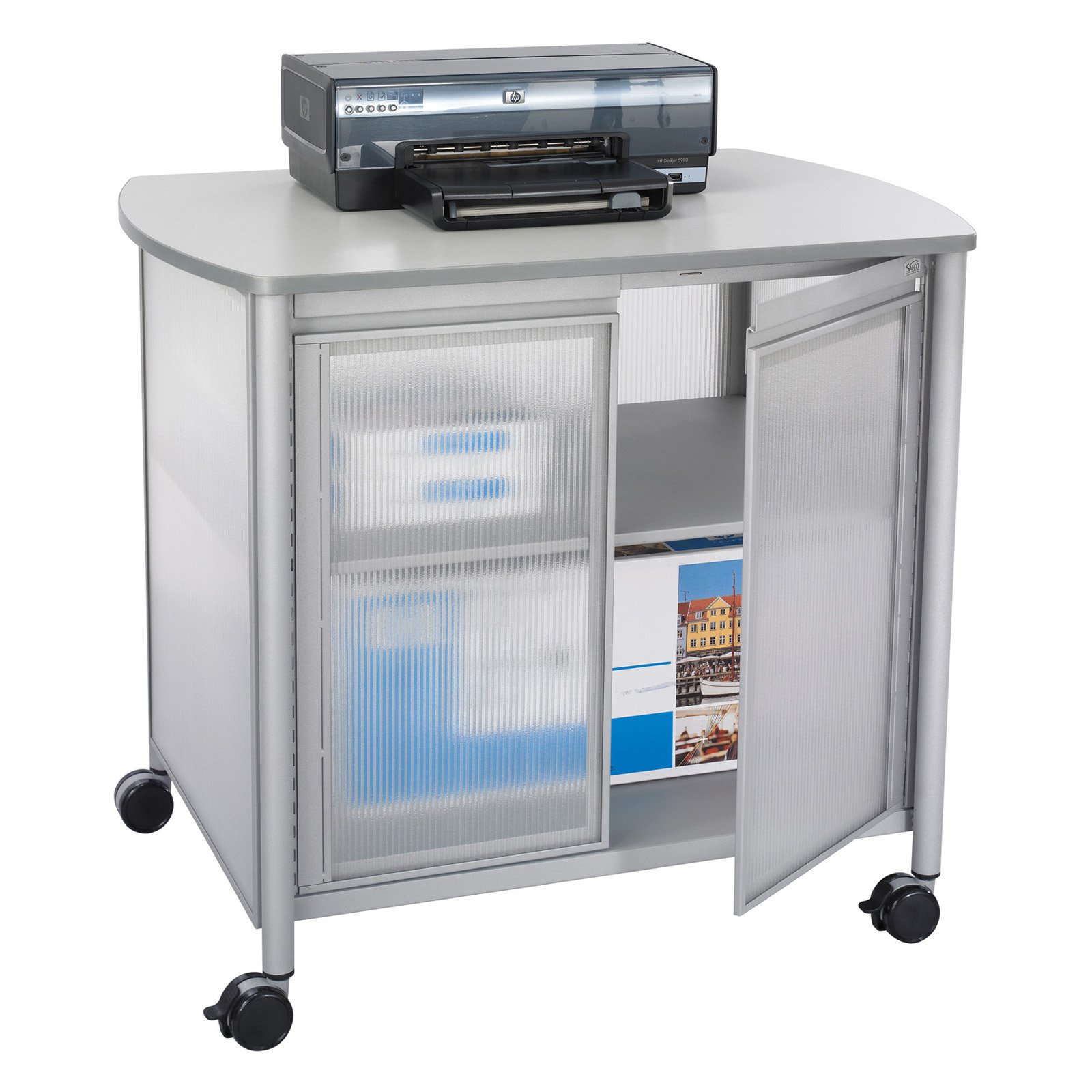 Safco Impromptu Deluxe Machine Stand with Doors - Gray