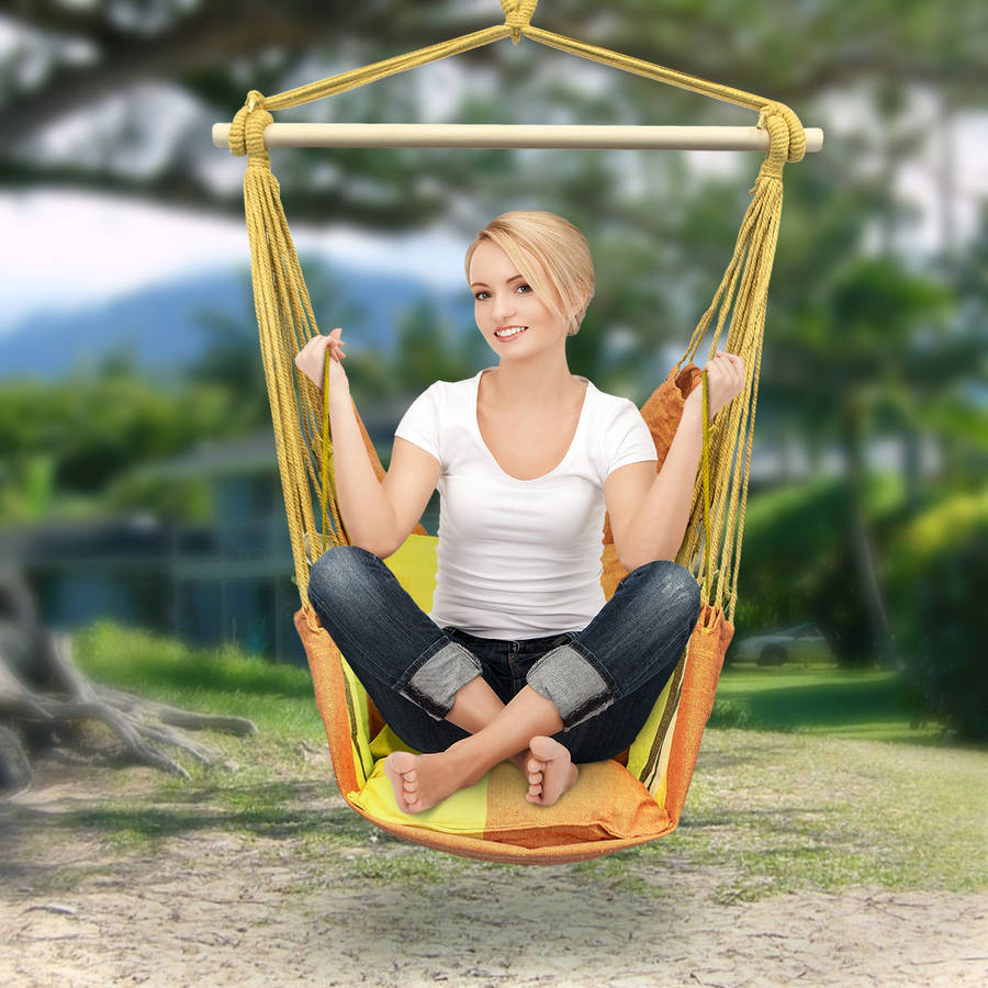 Sorbus Hanging Rope Hammock Chair Swing Seat for Any Indoor or Outdoor Spaces, 2 Seat Cushions Included, Yellow/Orange