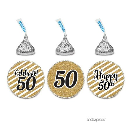 Milestone Chocolate Drop Labels Trio, Fits Hershey's Kisses Party Favors, 50th Birthday, 216-Pack, Not Real - 50th Birthday Party Favors