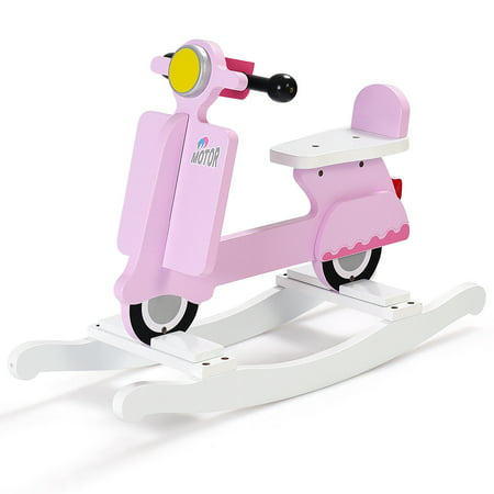 Costway Wooden Rocking Horse Kids Ride On Toy Toddler Motorcycle Rocker Chair Flat Seat ()