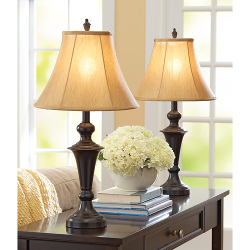 Better Homes and Gardens Traditional Lamp, Espresso Finish, 2pk