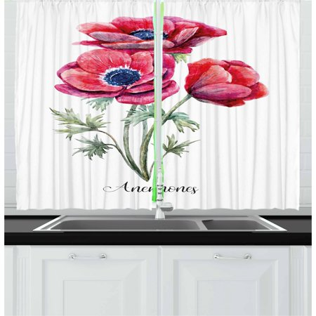 Navy Red Sage (Anemone Flower Curtains 2 Panels Set, Watercolor Painting Style Bouquet of Anemone Vintage Garden, Window Drapes for Living Room Bedroom, 55W X 39L Inches, Sage Green Red Navy Blue, by)