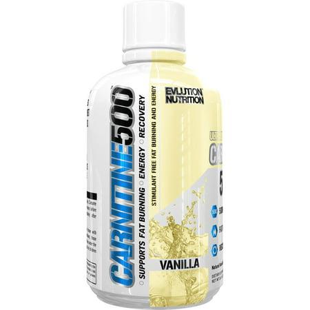 Evlution Nutrition Carnitine500 Energy Drink, Vanilla, 16 Fl Oz, 93