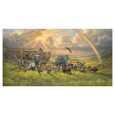 Noah's Ark Panel 24'' x 44'' Cotton Fabric by Elizabeth's Studio