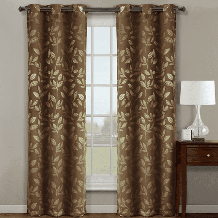 Claire Pair   Set Of 2   Micro Suede Jacquard Blackout By Weave Grommet Curtain Panels