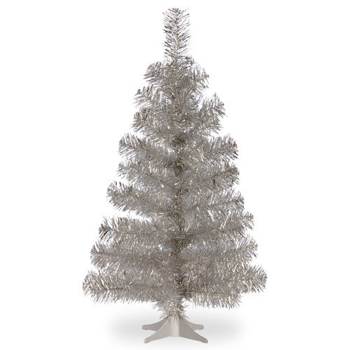 National Tree Co. Tinsel Trees 3'' Silver Artificial Christmas Tree and Stand