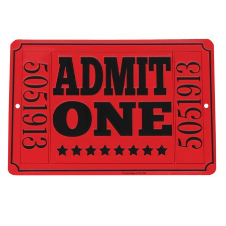 Admit One Red Movie Theatre Ticket Metal Sign Home Theater Man Cave Wall