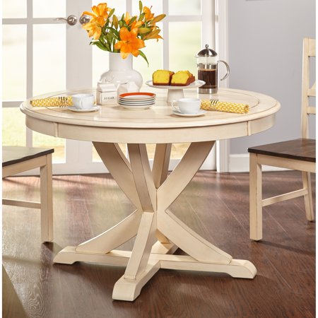 Astounding Simple Living Vintner Country Style Antique White Round Dining Table Antique White Creativecarmelina Interior Chair Design Creativecarmelinacom