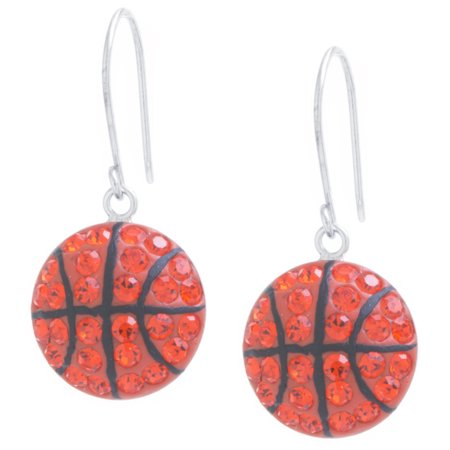 Marisol & Poppy Fine Sterling Silver Crystal Pave Basketball Drop Earrings