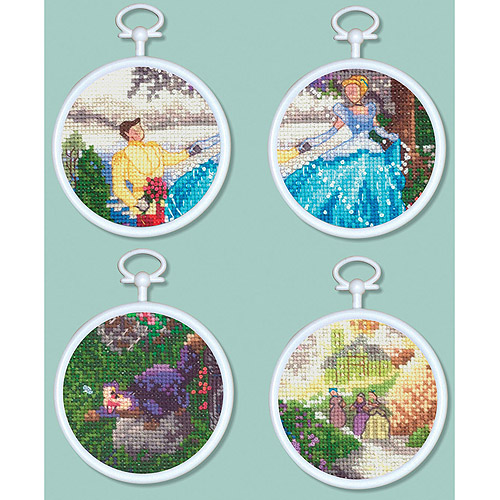 """Cinderella Mini Vignettes Counted Cross Stitch Kit, 3"""" Round 16 Count Set Of 4"""
