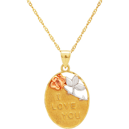 """Sterling Silver and 18kt Gold-Plated """"I Love You"""" Oval Pendant, 18"""""""