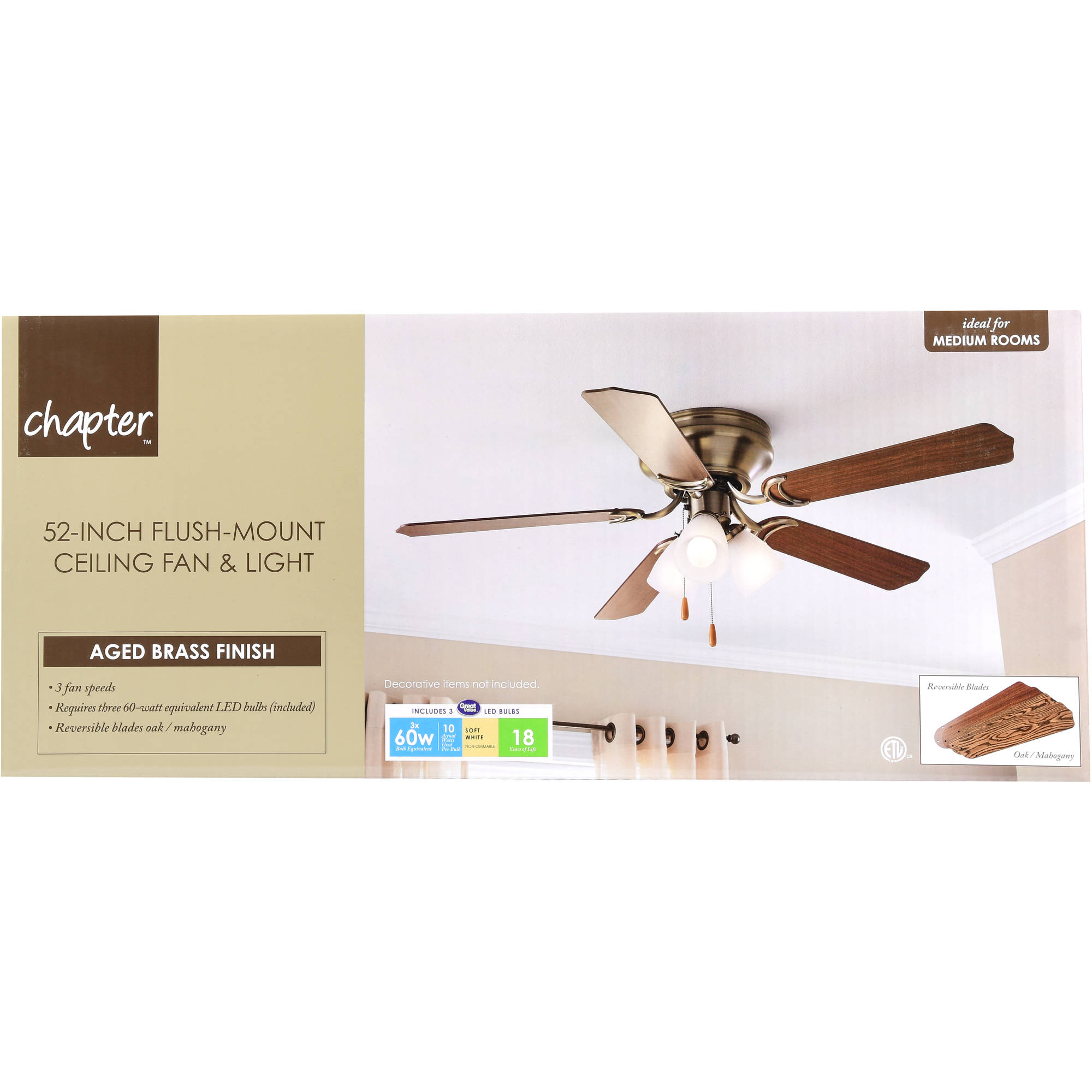 52 chapter ceiling fan 3 light hugger aged brass walmart mozeypictures Image collections