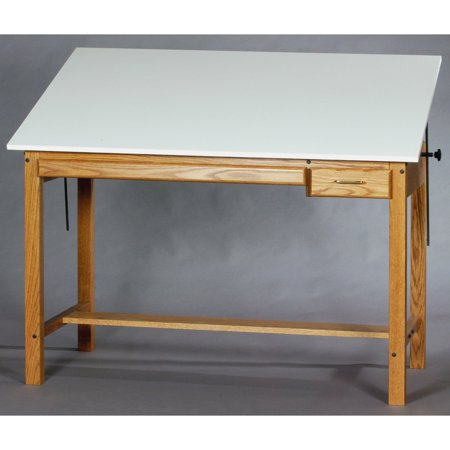 Smi Professional Wood Drafting Table With Plan And Tool Drawer