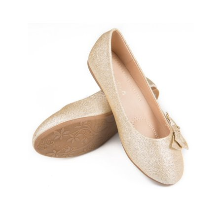 Pipiolo Girls Gold Glitter Bow Elastic Strap Mary Jane - Gold Girls Shoes
