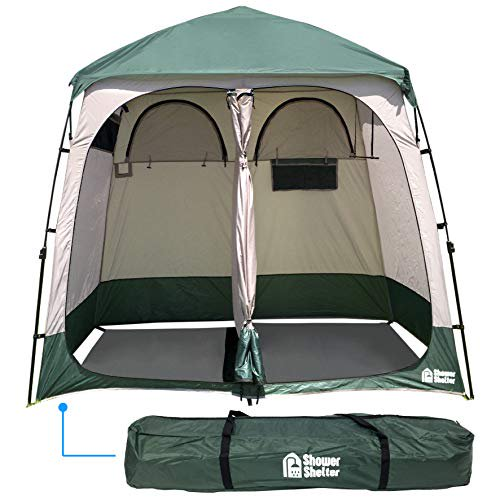 Shower Shelter – Giant Portable Outdoor Pop UP Camping Shower Tent Enclosure – Changing Room – 2 Rooms – Instant Tent –