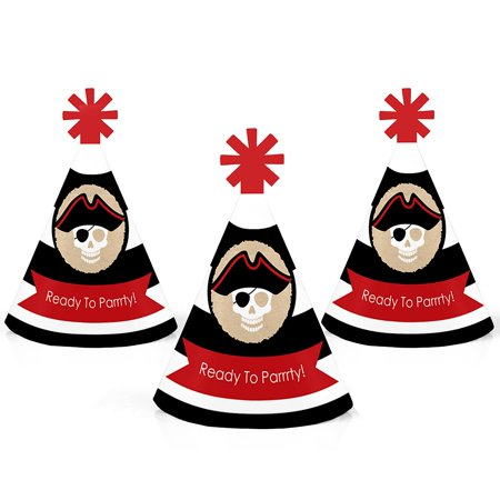 Big Pirate Hat (Beware of Pirates - Mini Cone Pirate Birthday Party Hats - Small Little Party Hats - Set of)