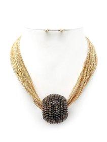 3083fcfac4 Womens Mesh Chain with Big Rhinestone Outstanding Ball Jewel Necklace Set  MS8074-Black Gold. GenX