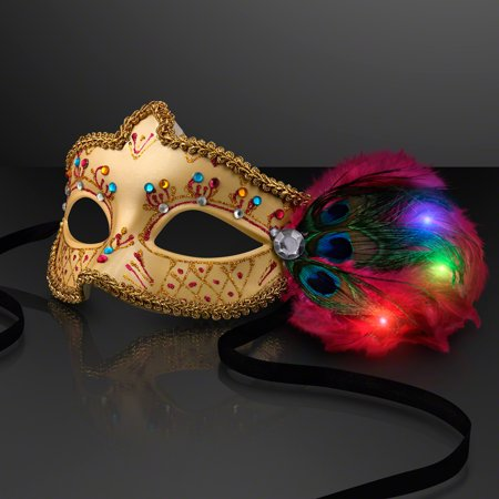 FlashingBlinkyLights Mardi Gras Masquerade Mask with Light Up LED Feathers