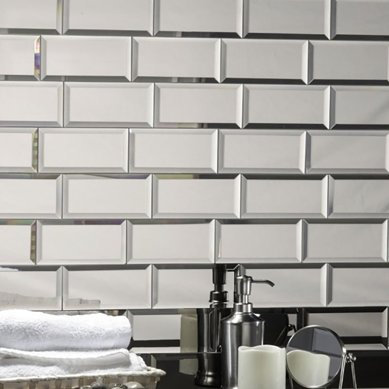 "Abolos- Echo 3"" x 6"" Mirror Peel and Stick Glass Subway Tile in Silver, 14 Square Feet (14 Packs)"