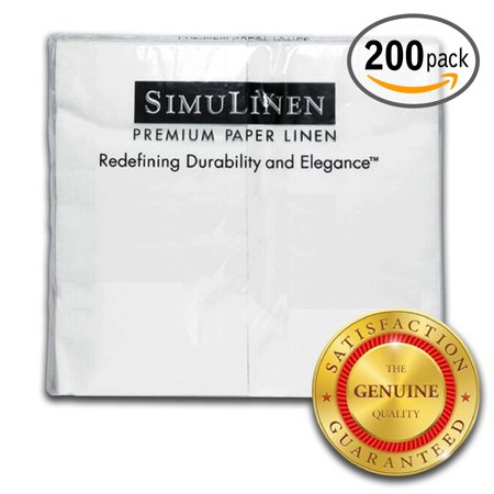 """SimuLinen Hand Towels – WHITE – Decorative, Durable, Cloth Like & Disposable – Guest Towels & Bathroom Towels (17""""x12"""" – Pack of 200) …"""