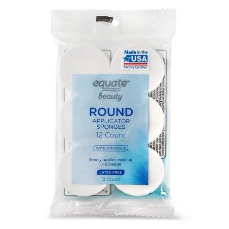 (3 Pack) Equate Beauty Round Makeup Applicator Sponges, Latex-Free, 12 ct.