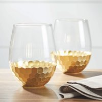 Better Homes & Gardens Stemless Honeycomb Gold Wine Glasses, 2 Piece