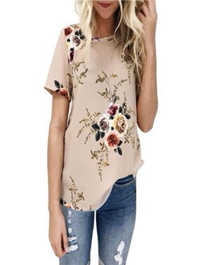 b401062f8723 Product Image Women Ladies Sexy Casual Floral Printing T-shirt Short Sleeve  Tops Blouse KH 3XL