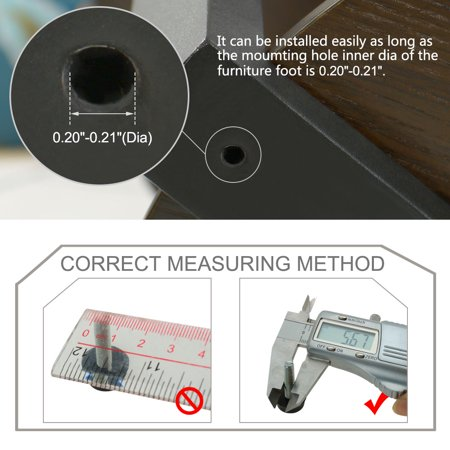 M6 x 24 x 18mm Furniture Glide Leveling Feet Floor Protector for Table Leg 12pcs - image 5 of 7