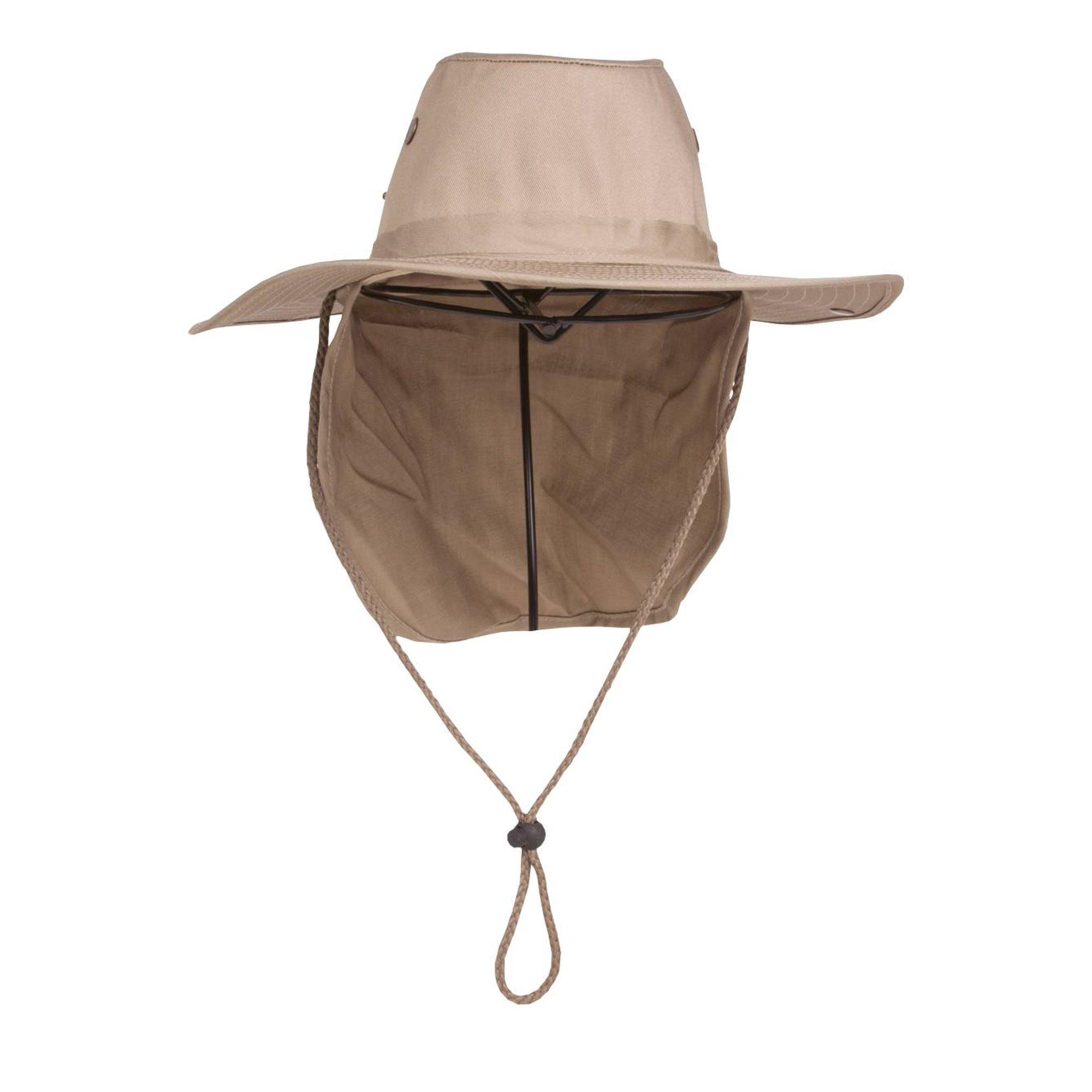 27d2eaf1c Top Headwear Safari Explorer Bucket Hat With Flap Neck Cover - Beige, XL