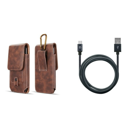 Bemz Accessory Bundle for Nokia 2V (Verizon) - Vertical Belt Holster Carrying Case with Card Slots (Brown) with Heavy Duty Nylon Braided Micro USB Charger Cable (5 Feet) and Atom Cloth