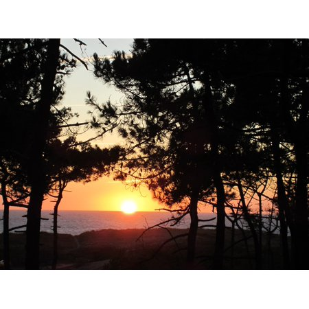Canvas Print Le Gurp Summer France Camping Sunset Stretched Canvas 10 x 14 (Summer Camp Arts And Crafts)