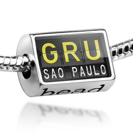 Bead GRU Airport Code for Sao Paulo Charm Fits All European Bracelets](Gru Symbol)