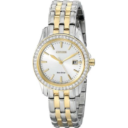 (Women's Two-Tone Citizen Eco Drive Swarovski Watch EW1908-59A)