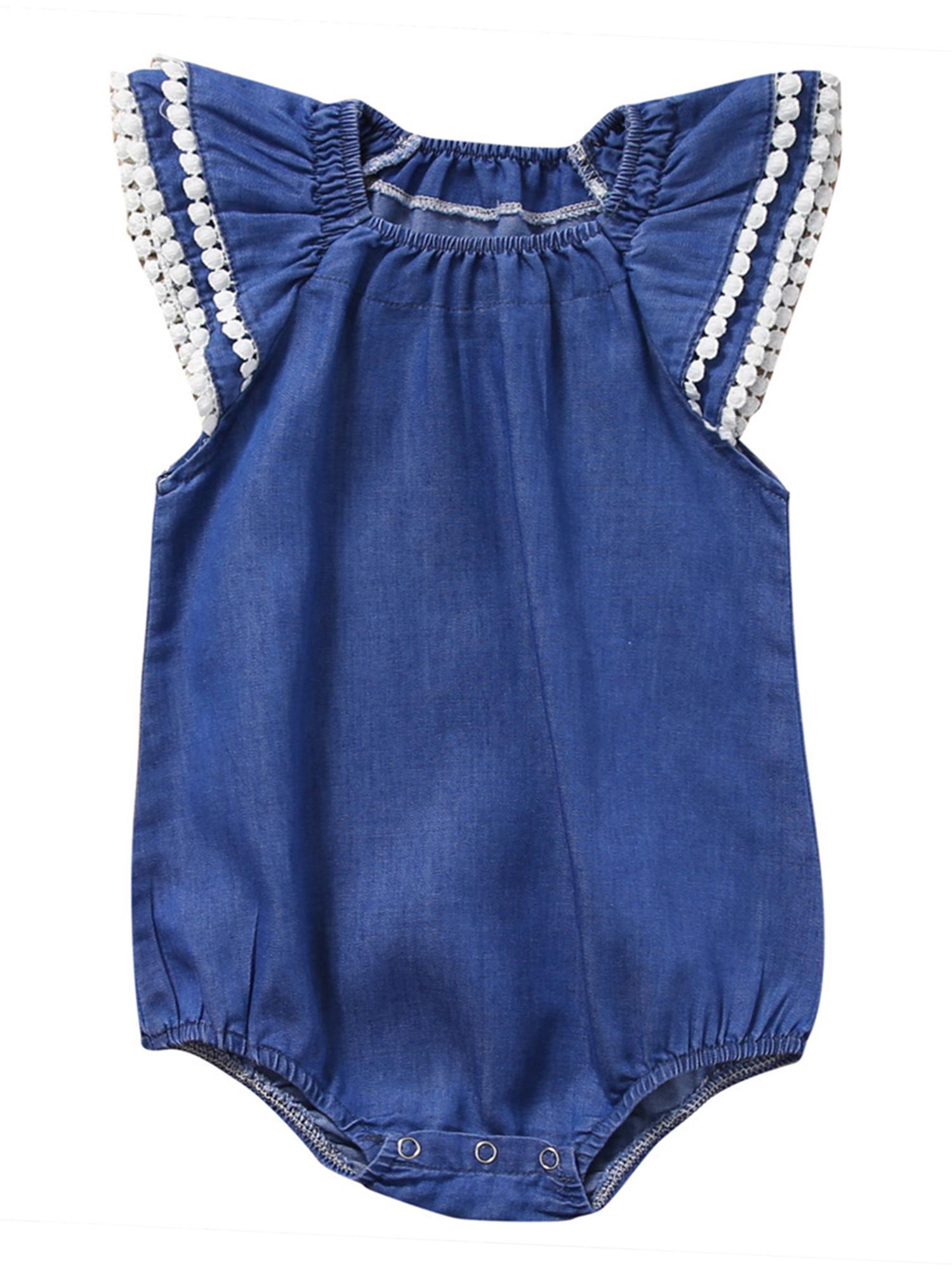 StylesILove Cute Baby Girl Pompom Ruffled Sleeves Denim Romper (100/18-24 Months)
