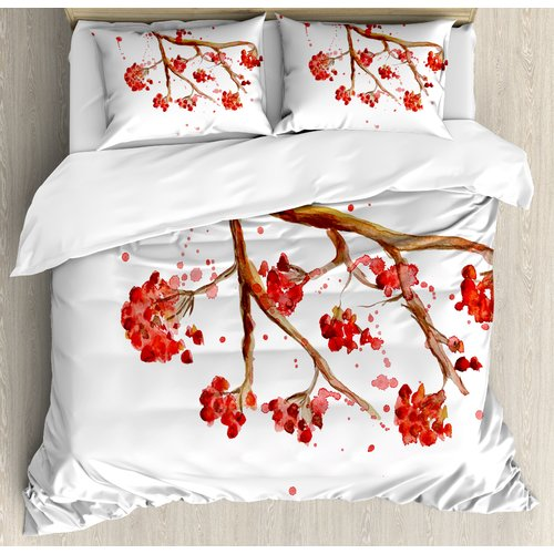Watercolor Berries Winter Print Details about  /Rowan Quilted Bedspread /& Pillow Shams Set