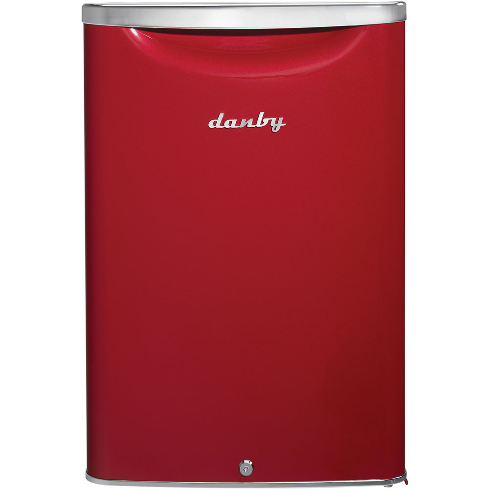 Danby Contemporary Classic Chrome Line 2.6 cft all refrigerator in metallic scarlett red