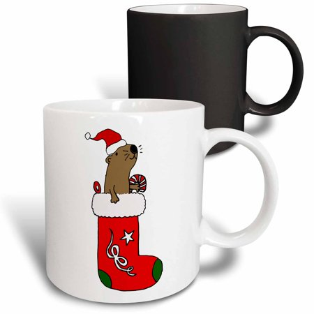 Rose Stocking - 3dRose Funny Cute Sea Otter in Christmas Stocking Cartoon - Magic Transforming Mug, 11-ounce