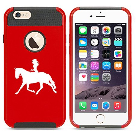 For Apple (iPhone 8) Shockproof Impact Hard Soft Case Cover Cowgirl Riding Horse - Red Cowgirl