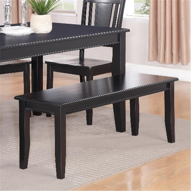 Wooden Imports Furniture DU-WB-BLK Dudley Dining Bench with Wood Seat - Black
