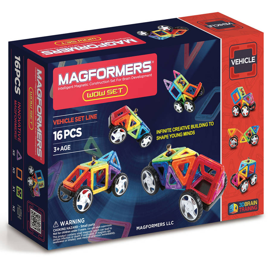 Magformers WOW Set 16 piece Multicolor Magnetic Tiles with Character and Wheels
