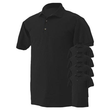 Gildan Mens Button-Down Polo Shirt, Pack of 5