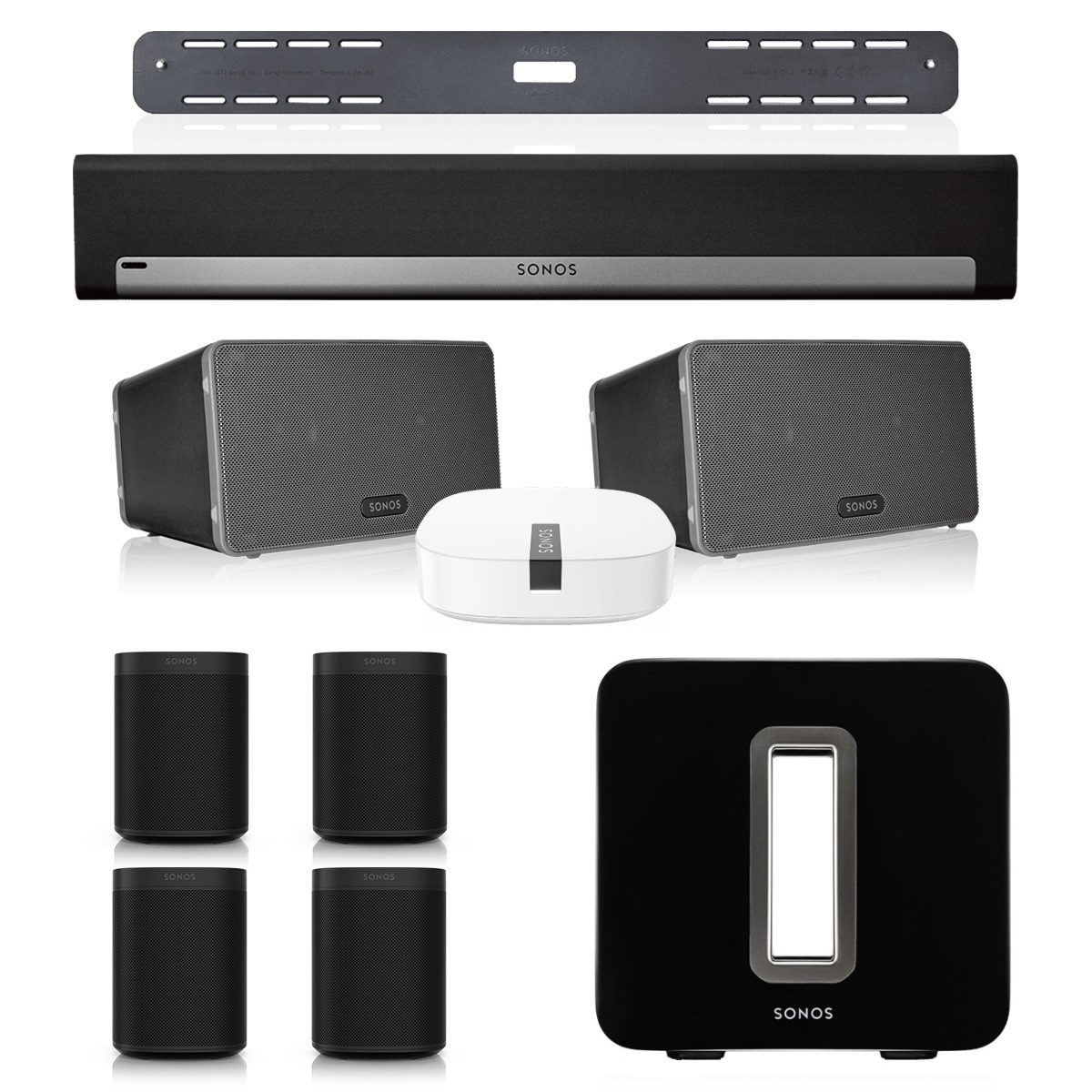 Sonos PLAYBAR Multi-Room Whole House Home Theater System with ONE (Set of 4), PLAY:3 (Pair), and SUB Wireless Subwoofer (Black)