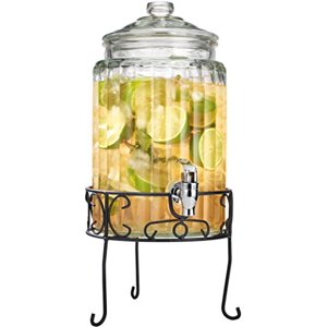 Palais Glassware Strie Beverage Dispenser - Decorative Ribbed Design with Stand - 1.5 Gallon