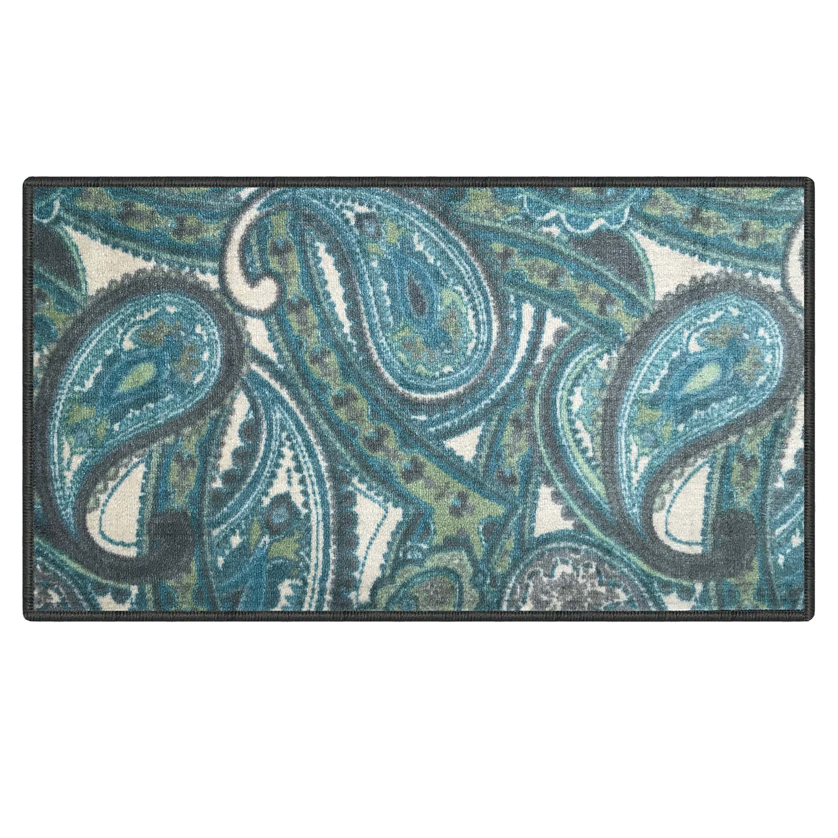 Silk and Sultans Agathe Collection Contemporary Blue Paisley Design, Pet Friendly, Non-Slip Doormat with Rubber Backing, 1'x2' Blue