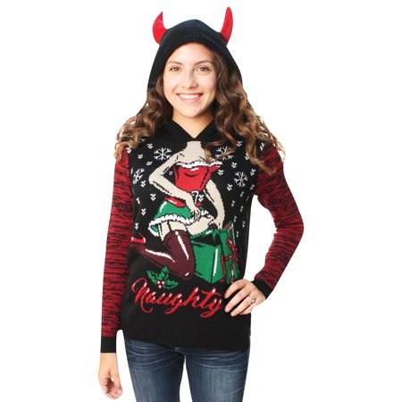 Ugly Christmas Sweater Women's Naughty Present Hooded - Ugly Sweater Kits