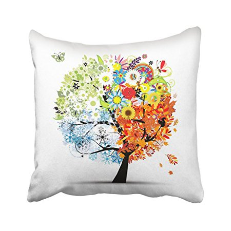WinHome Four Seasons Life Tree Design Green Orange Blue Yellow Decorative Pillowcases With Hidden Zipper Decor Cushion Covers Two Sides 20x20