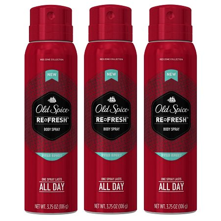 (3 Pack) Old Spice Red Zone Pure Sport Scent Body Spray for Men, 3.75