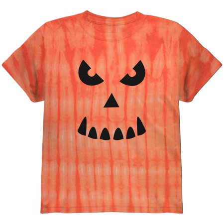 Halloween Jack-O-Lantern Spooky Face Tie Dye Youth T-Shirt (Halloween Face Tutorial)