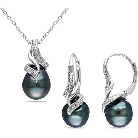 9-9.5mm Black Drop Tahitian Pearl with Diamond-Accent Sterling Silver Set of Pendant and Leverback Earrings, 18