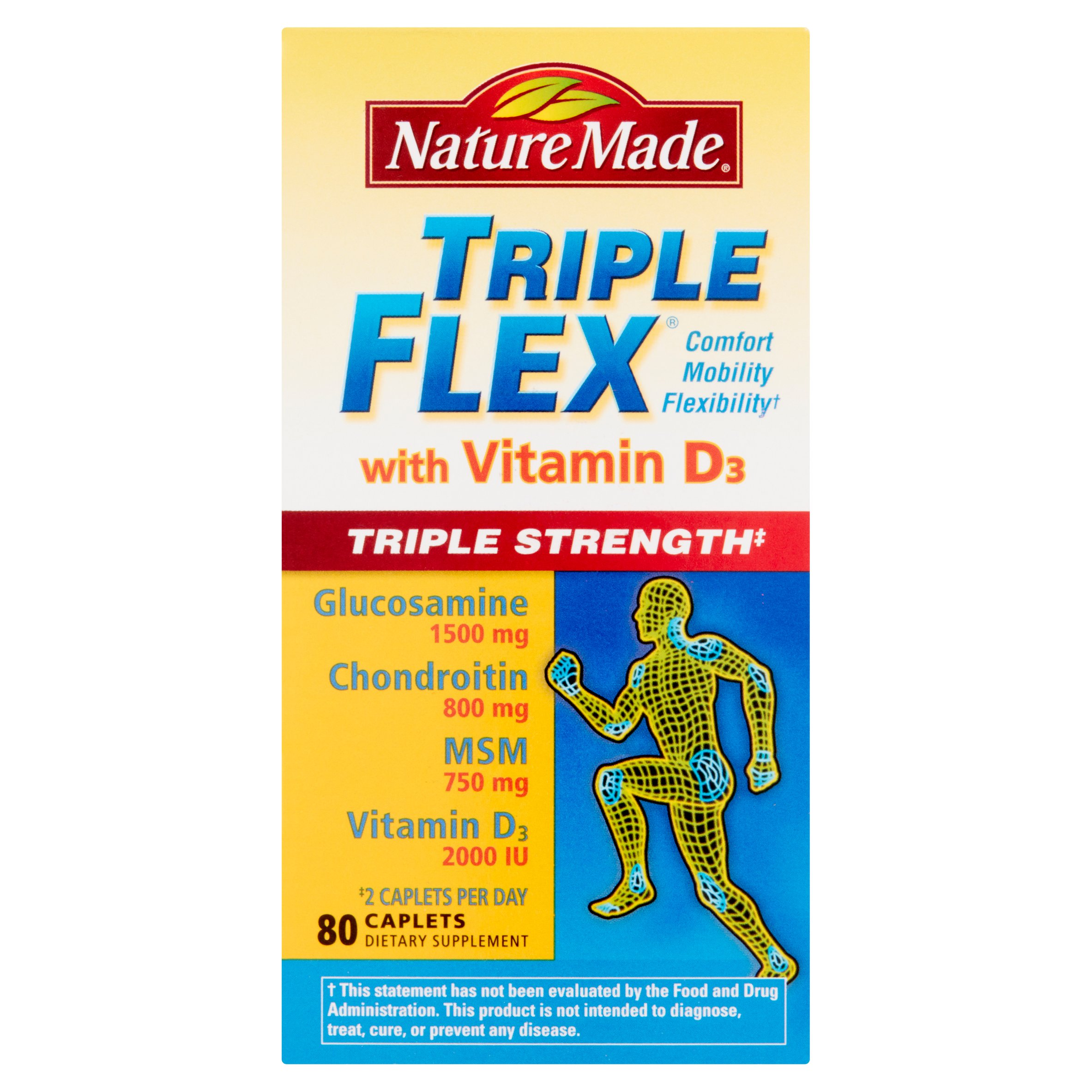 Nature Made Triple Flex with Vitamin D3 Caplets, 80 count